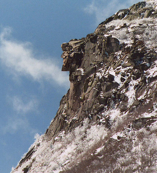 Old Man of the Mountain Before Collapse in 2003
